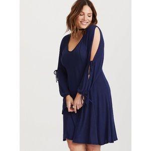 Torrid Navy Blue Long Slit Sleeve Knit Dress, 2